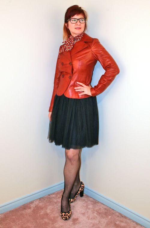 Leopard heels tulle skirt polka dot scarf