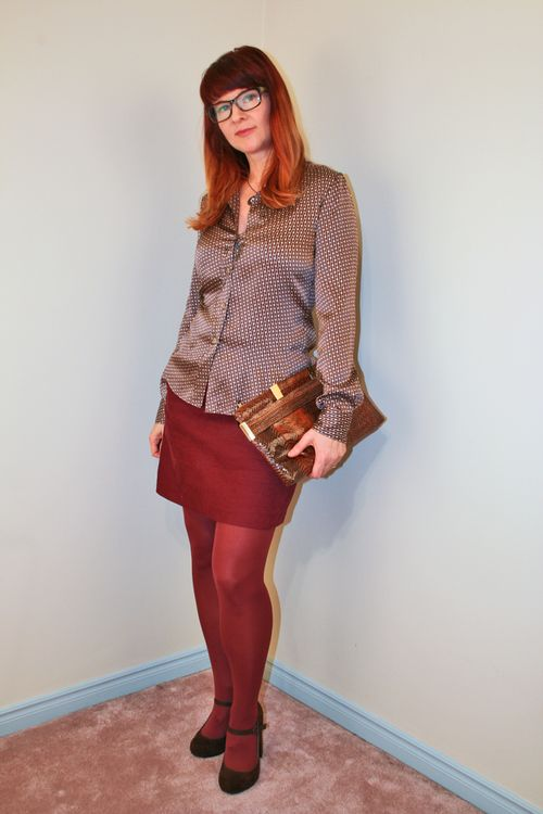 Rust skirt brown silk blouse