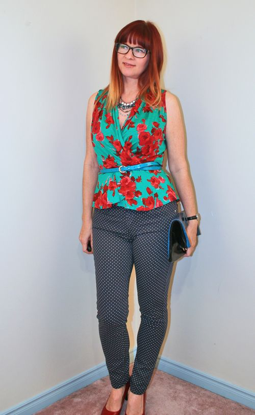 Green red rose anthropologie top