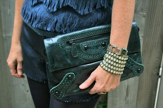 Teal leather clutch danier