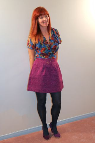 Magenta skirt floral pattern top from anthropologie