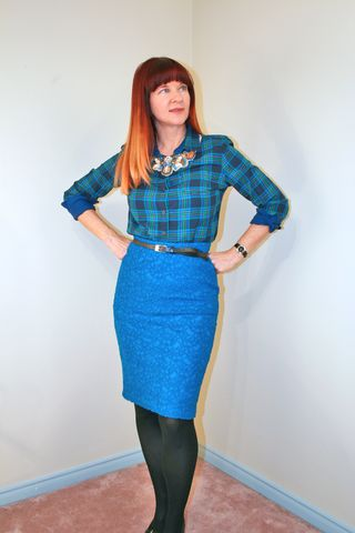 Plaid shirt blue skirt