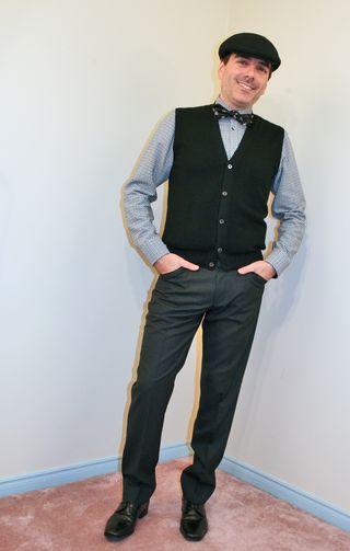 Black vest black bow tie