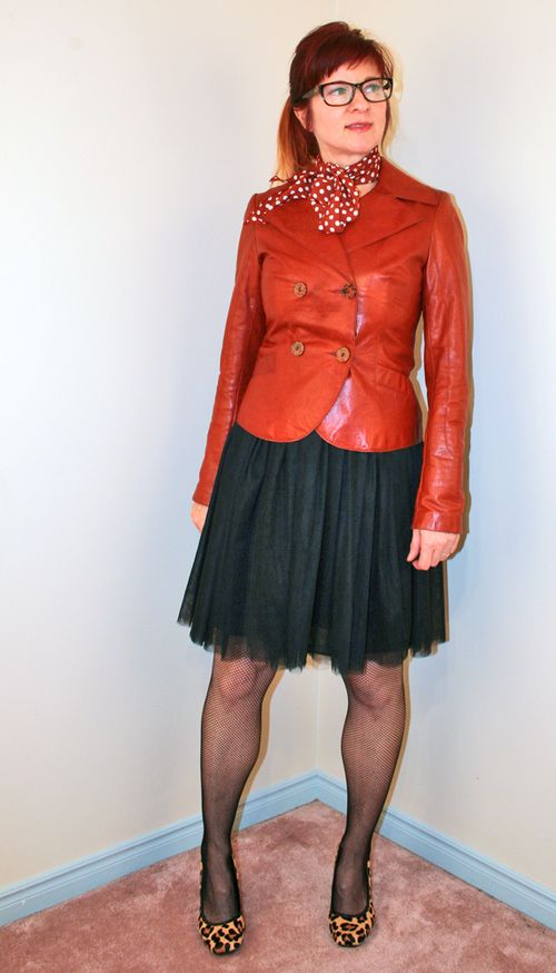 Black tulle skirt rust leather jacket