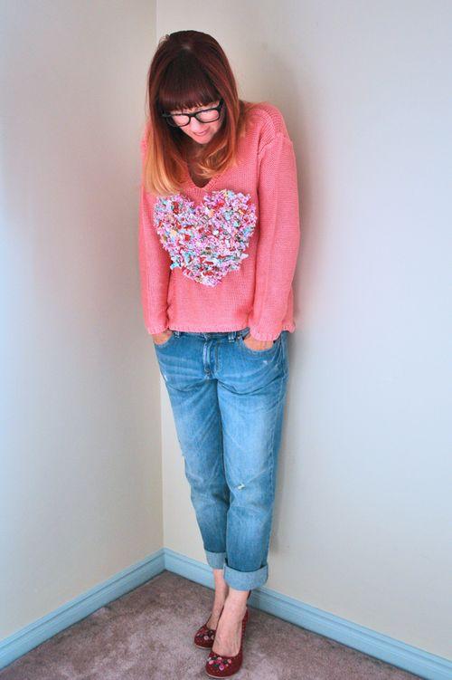 Jeans rag heart DIY sweater