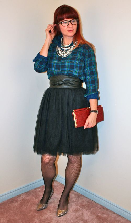 Joe fresh plaid shirt black tulle skirt
