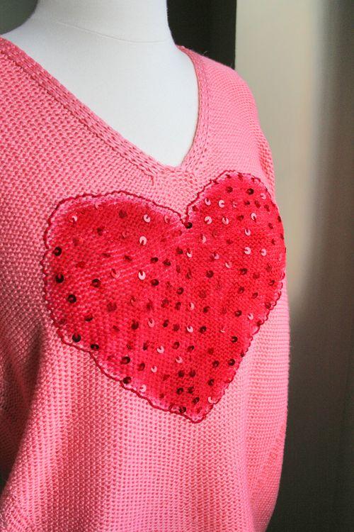 DIY valentine sweater