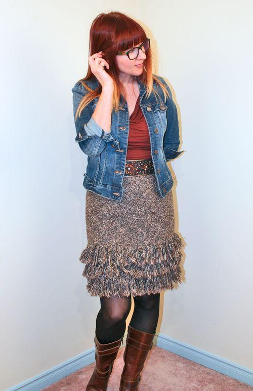 Brown knit skirt anthropologie