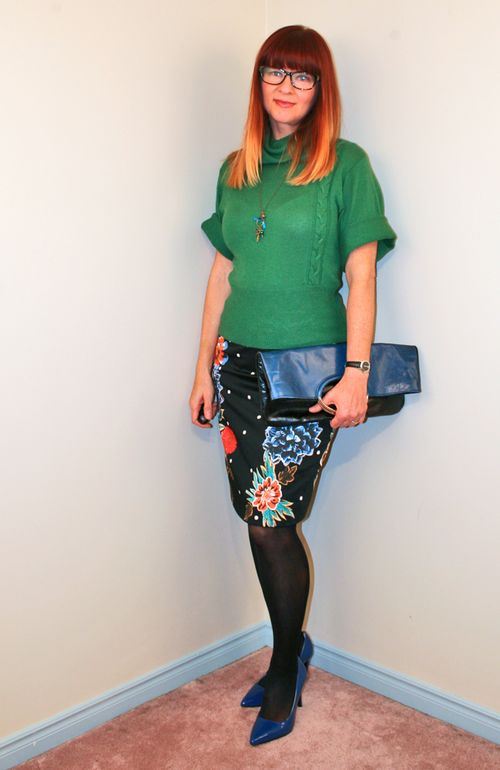 Floral anthropologie skirt green sweater