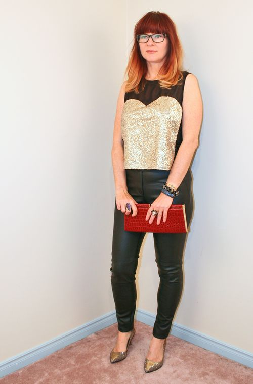 Gold sequin top black leather pants