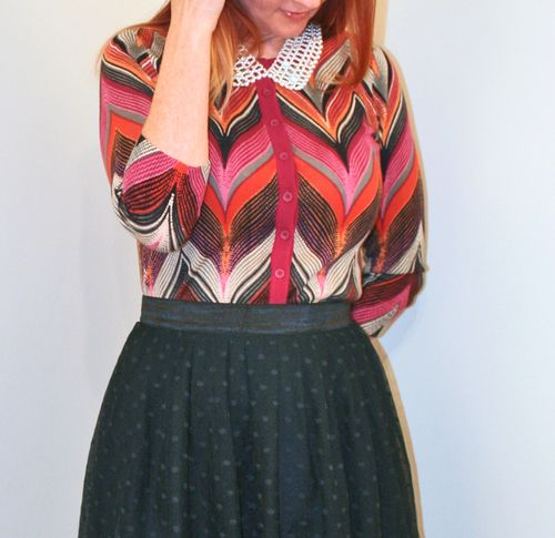 Chevron cardigan Anthropologie black tulle skirt