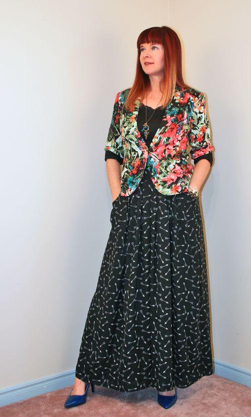Floral blazer black maxi wide leg trousers