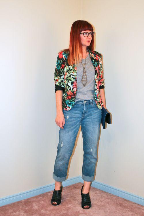 Boyfriend jeans floral blazer