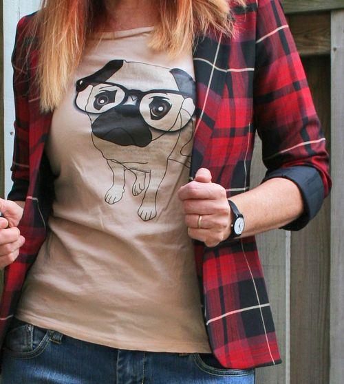 Pug wearing glassed tshirt