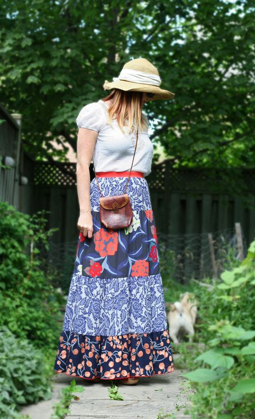 Patterned printed maxi skirt anthropologie