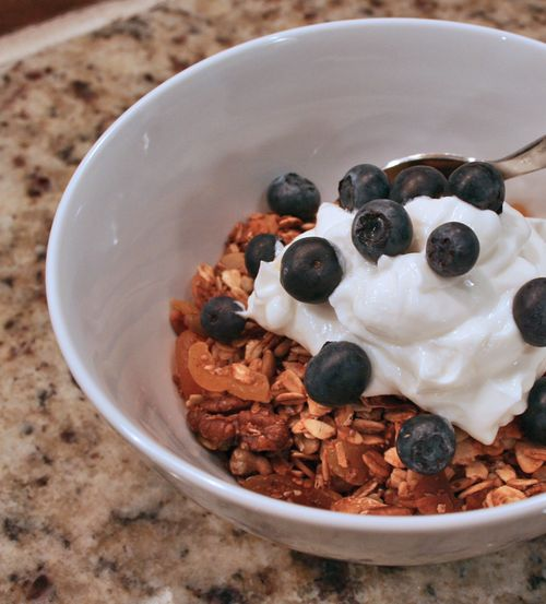 Homemade granola with blueberries