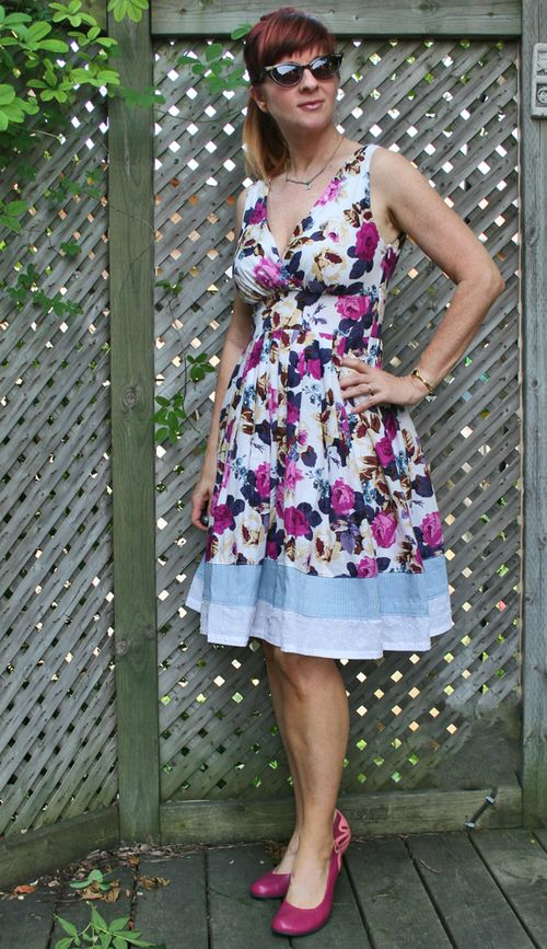 Purple floral ruche dress