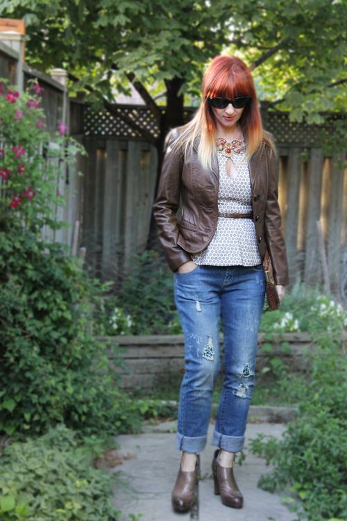 Boyfriend jeans leather jacket