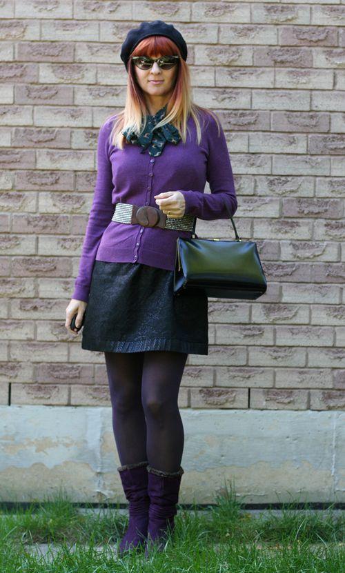 Purple booties black beret