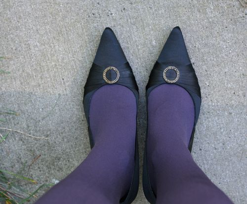 Purple tights black heels