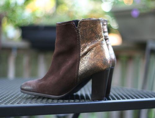 Brown and gold booties