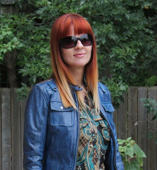 Blue danier leather jacket