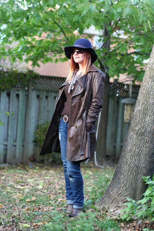 Danier long leather jacket