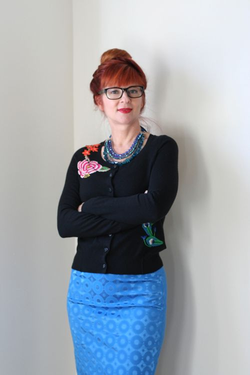 Blue anthro skirt embroidered anthro cardigan