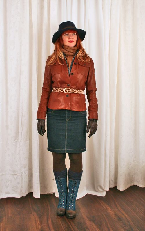 Blue boots brown leather jacket