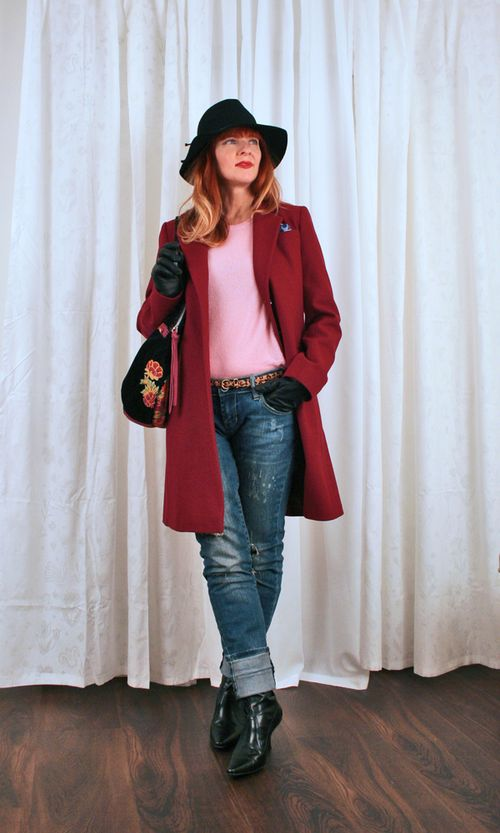 Long wool cherry red coat