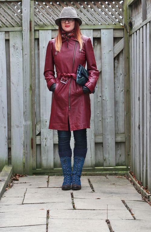 Red danier leather coat