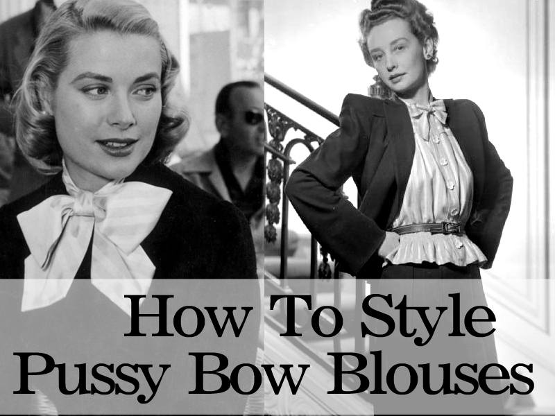 How to style vintage pussy bow blouses