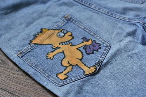 Hand painted denim overall shorts