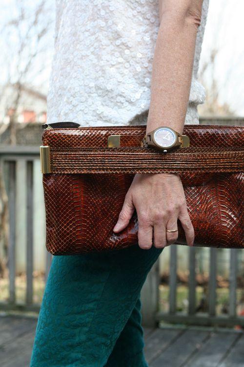 Retro handbag clutch jord wooden watch