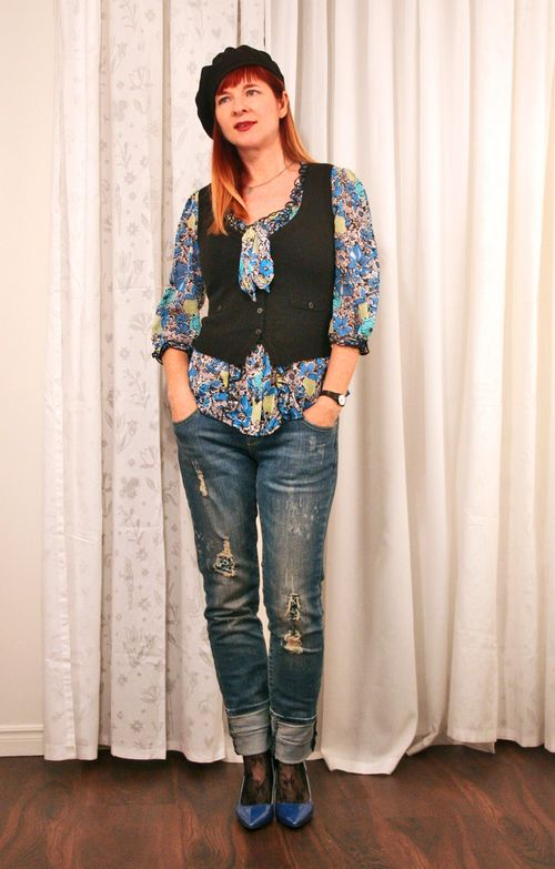 Black knit vest floral tie blouse