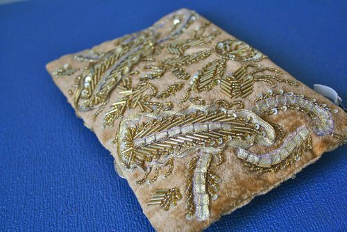 Gold beaded clutch anthropologie