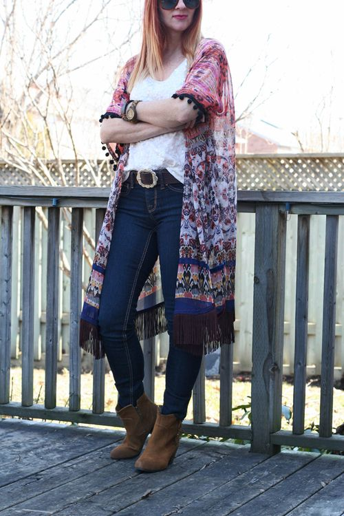 How to wear a kimono with jeans