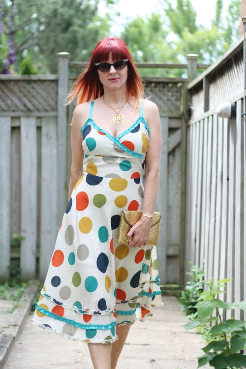How to dress for summer over 40 suzanne carillo style files yumi polka dot dress