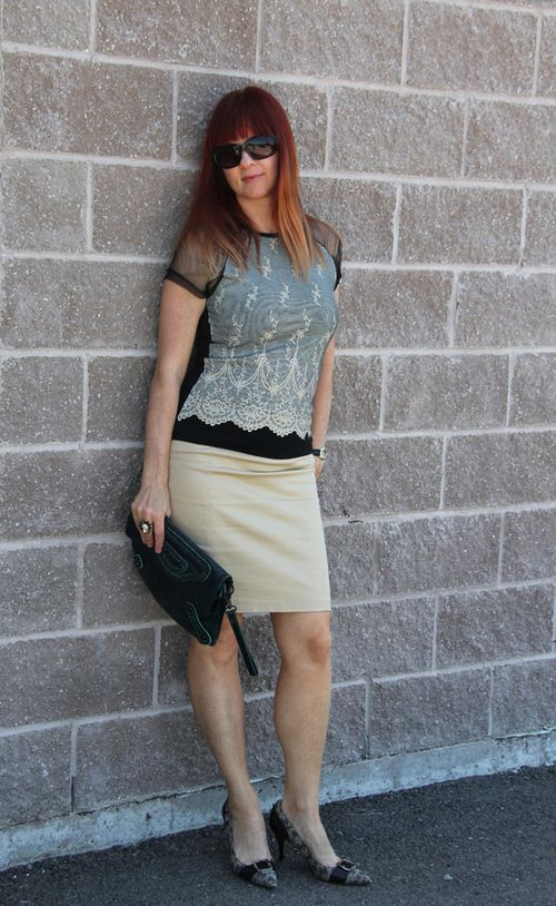 Lace top beige pencil skirt suzanne carillo