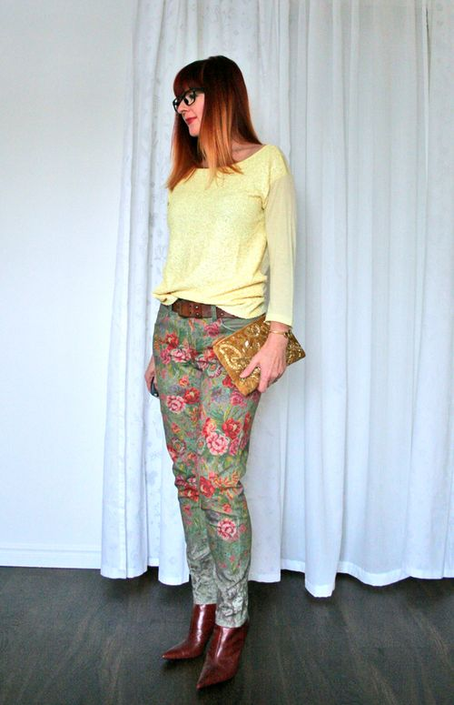 Joe fresh yellow sequin top spring outfit suzanne carillo