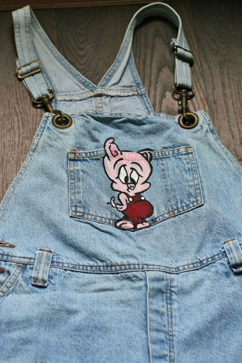 Painted denim overall shorts