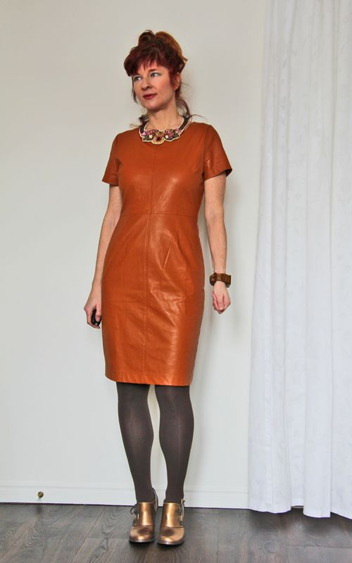 Brown leather sheath dress anthropologie