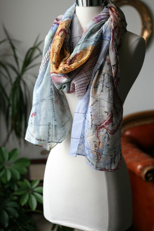 Map of the world scarf