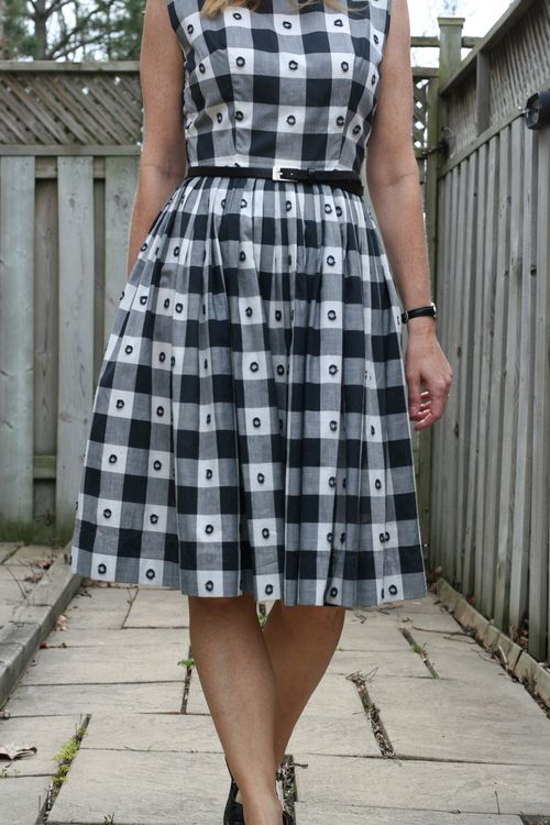 Black and white 1950's check dress