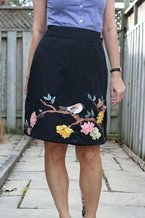 Ebroidered bird skirt anthropologie
