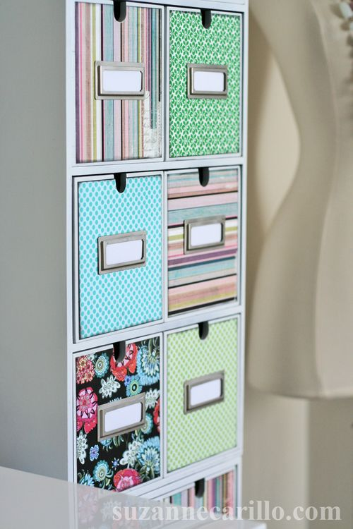 Home office storage DIY decoupage suzanne carillo