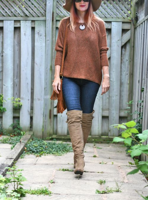 How to style an oversized sweater tall boots suzanne carillo style files