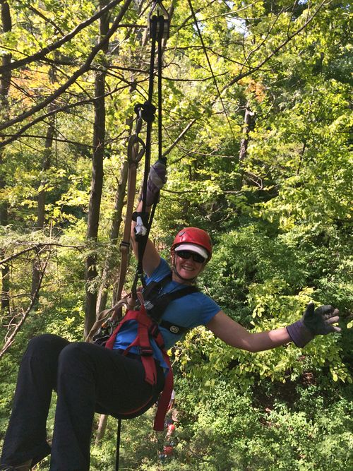 Zip lining Ontario Dedra rapelling long point eco adventures