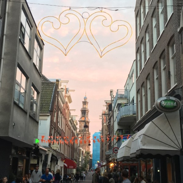 photo of Amsterdam street at sunset