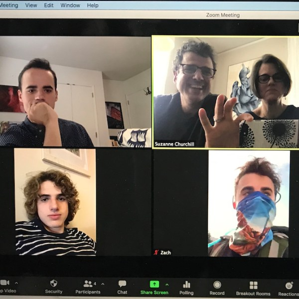 screenshot of family zoom meeting